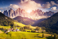 Countryside view of the Funes valley St. Magdalena Royalty Free Stock Image