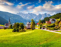 Countryside view of the Gosau village at summer sunny day Stock Image