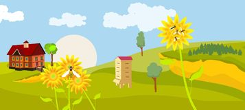 Countryside view, green fields, little cottage, sunflowers, bee hive. Vector vector illustration