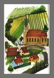 Countryside view illustration, church and vineyards Stock Photo