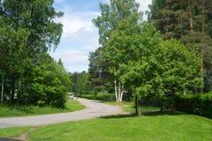 Countryside view at Joensuu, Finland. Quiet neighborhood with green territory in Joensuu, Finland Royalty Free Stock Images