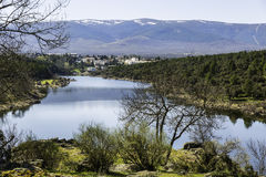 Countryside, view of lozoya river in Buitrago de Lozoya, Madrid, Royalty Free Stock Image