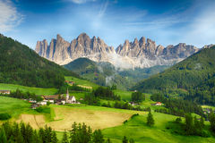 Countryside view of  Santa Maddalena in National Park Puez Odle Stock Photography