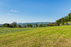 Springtime view in the Swiss canton of Zug. Countryside view in springtime. The picture was taken at the beginning of May in the region of the town of Zug in Stock Photography