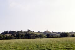 Scenic Somerset, Glastonbury Tor. Countryside view towards historic Glastonbury Tor, Somerset, UK stock image