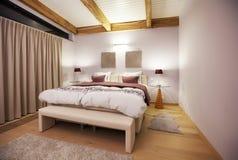 Countryside villa's bedroom. Interior of villa in Belgian Ardennes stock image