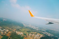 Countryside village from airplane in Trichy, India. Countryside village view from airplane in Trichy, India Stock Photography