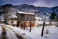 Countryside Village On Winter Snow Royalty Free Stock Photos