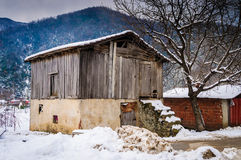 Countryside Village On Winter Snow Stock Photography
