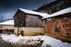 Countryside Village On Winter Snow Royalty Free Stock Photo