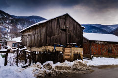 Countryside Village On Winter Snow Royalty Free Stock Images