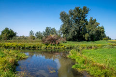 Countryside water canal junction, summer Royalty Free Stock Photo