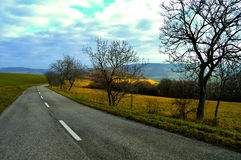 Countryside western Slovakia. Slovakian nature and trees with nice sky straighted by road stock images