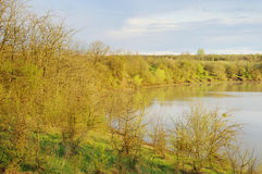Countryside wild landscape with little lake Stock Photos