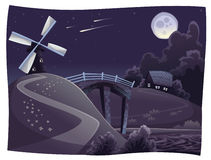 Countryside with windmill in the night. Vector and cartoon landscape. Objects isolated Royalty Free Stock Photography