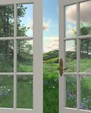 Countryside Window View. 3D Digitally rendered illustration of the view of rolling hills, flowery meadows and distant woodland countryside through a white Stock Photo