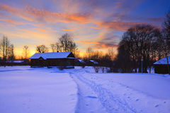Countryside at winter. Sunset in countryside at winter, Russia Stock Images