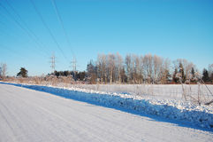 Countryside in winter. View of the winter countryside stock photo