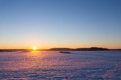 Countryside winter sunset Royalty Free Stock Photos