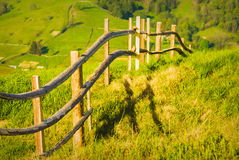 Countryside wooden fence Stock Photo