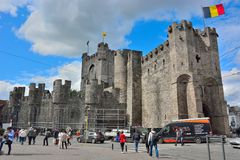The Counts (gravensteen) in Ghent is the only surviving medieval fortress in Flanders. With a nearly intact defence system, a special attraction and unique Stock Photos