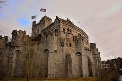 The Counts (gravensteen) in Ghent is the only surviving medieval fortress in Flanders Royalty Free Stock Images