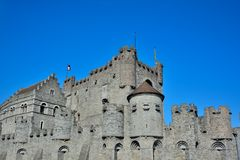 The Counts (gravensteen) in Ghent is the only surviving medieval fortress in Flanders Royalty Free Stock Image