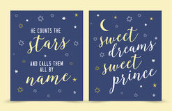 He Counts the Stars and Calls them By Name; sweet dreams sweet prince!. Bible scripture Verse Nursery Art Print Vector Art Printable Set with hand-drawn moon Stock Photography