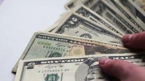 Countslot da mulher de notas de dólar pequenas na tabela com um fim branco do macro do fundo acima vídeos de arquivo