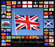 County Flags of the United Kingdom. Together with the flags of England, Scotland Wales and the Union Flag of Great Britain Stock Image