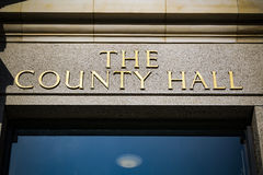 County Hall sign above doorway in gold lettering Stock Photography