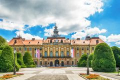 The County Hall in Sombor, Serbia. Sombor, Serbia July 12, 2017: The County Hall in Sombor, Serbia royalty free stock photos
