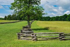County Lane Lined by Stack Rail Fencing - 2. County lane located in Appomattox County lined by two stack rail fencing Royalty Free Stock Image