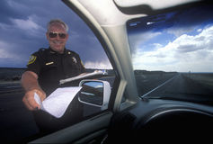County sheriff giving speeding ticket in North New Mexico Stock Photography