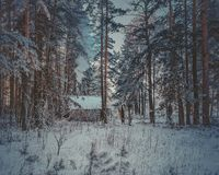 County side. Hut, lost somewhere in the winter forest Stock Photo