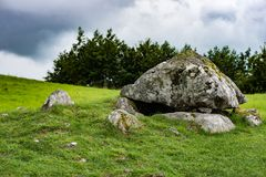 COUNTY SLIGO, IRELAND - AUGUST 25, 2017: Carrowmore Megalithic Cemetery in Sligo, Ireland. COUNTY SLIGO, IRELAND - AUGUST 25, 2017: View of Carrowmore Megalithic Royalty Free Stock Photo