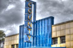County theatre marquee in Doylestown, Pa. USA royalty free stock photos