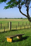 Countyside view with bench on green field. Royalty Free Stock Images