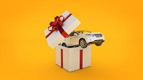 Coupé di SUV dell'automobile Concetto del contenitore di regalo Fotografie Stock Libere da Diritti