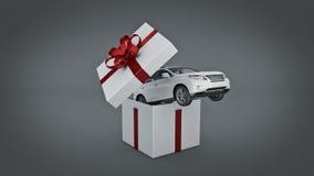 Coupé di SUV dell'automobile Concetto del contenitore di regalo Fotografia Stock Libera da Diritti