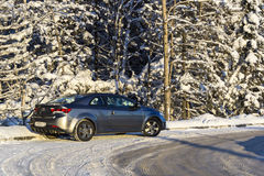 Coup car in winter pine forest Stock Photos