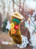 Coup de chaussettes les vêtements réchauffent photographie stock libre de droits