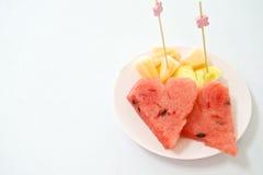 Coup de cure-dents sur le cantaloup et la pastèque d'ananas Photographie stock