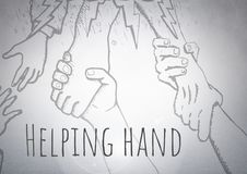 Coup de main atteignant les dessins graphiques avec le fond lumineux illustration stock