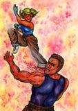 Coup-de-pied de combat de femme (la puissance des arts martiaux, 2014) Images libres de droits