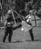 Coup-de-pied médiéval de guerrier vers le bas Photos libres de droits