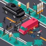 Coup en affiche isométrique de composition en action illustration de vecteur