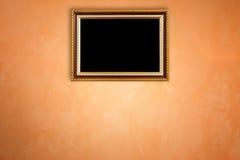 Coup en bois de cadre de photo de vintage sur le mur en pierre naturel Intérieur Photographie stock