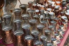 Coup of ibrik. In Sarajevo market in Bosnia stock photography