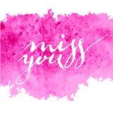 Coup manqué violet d'aquarelle de calligraphie vous Photos stock